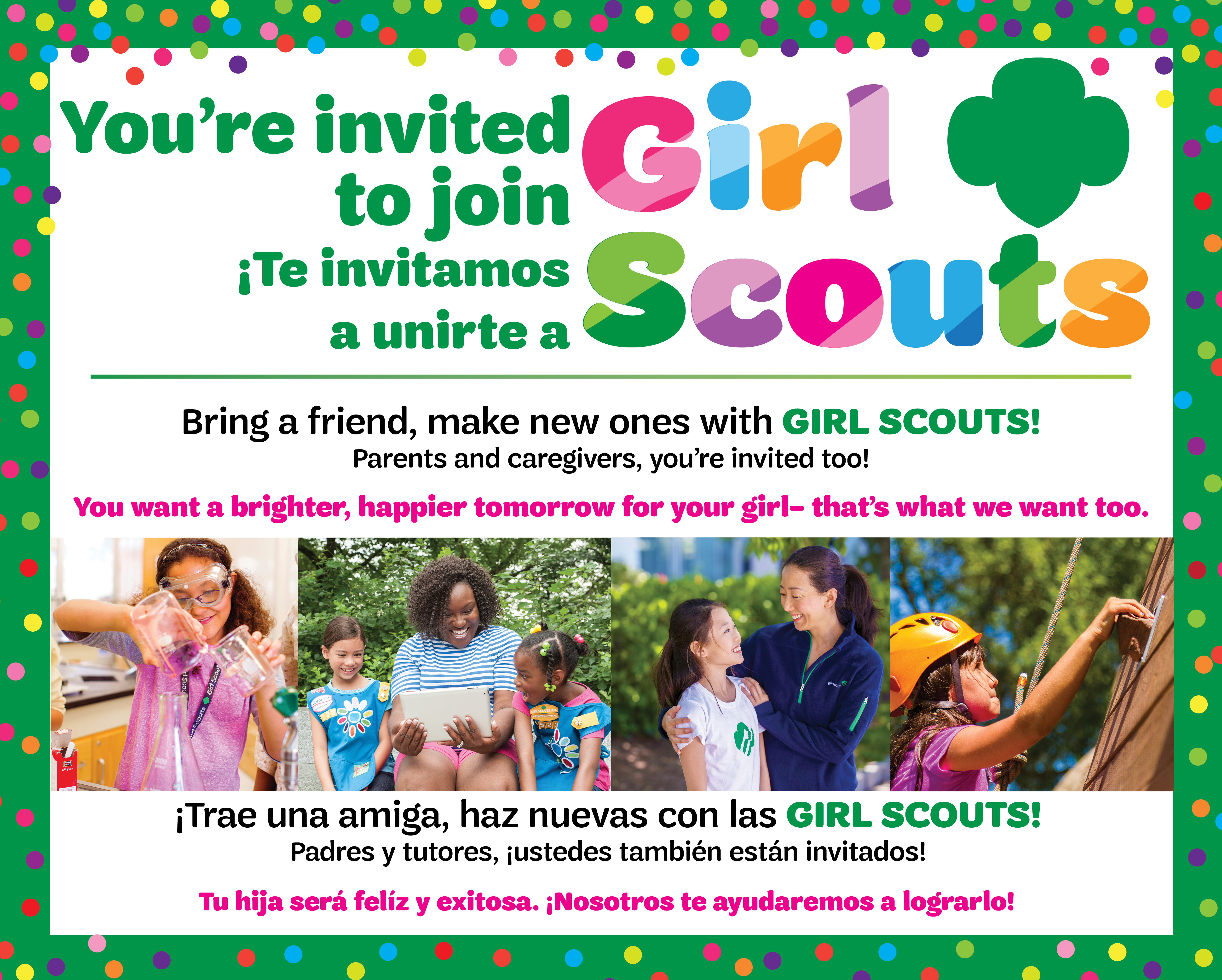 You're invited to join girl scouts
